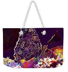 Weekender Tote Bag featuring the digital art Butterfly Flower Summer Forage  by PixBreak Art