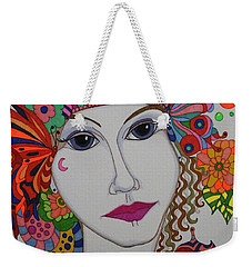 Weekender Tote Bag featuring the painting Butterfly Girl by Alison Caltrider