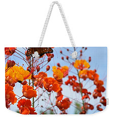 Weekender Tote Bag featuring the photograph Butterfly On Bird Of Paradise by James Fannin