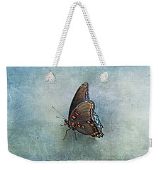 Weekender Tote Bag featuring the photograph Butterfly On Blue by Sandy Keeton