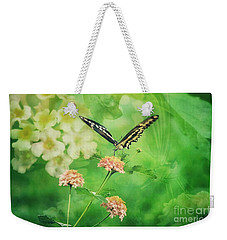 Butterfly On Lantana Montage Weekender Tote Bag by Toma Caul