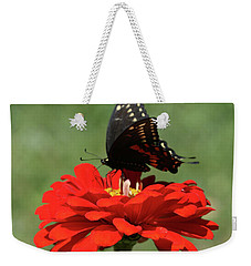 Butterfly On Red Zinnia Weekender Tote Bag