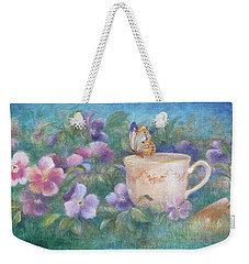 Weekender Tote Bag featuring the painting Butterfly On Teacup by Judith Cheng