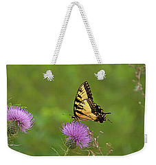 Weekender Tote Bag featuring the photograph Butterfly On Thistle by Sandy Keeton