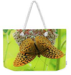 Butterfly On Wild Flower Weekender Tote Bag