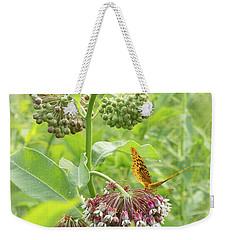 Butterfly On Wild Flowers Weekender Tote Bag