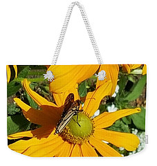 Butterfly On Yellow Flower Weekender Tote Bag