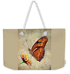 Weekender Tote Bag featuring the pyrography Butterfly by Savannah Gibbs