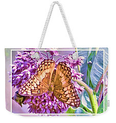 Weekender Tote Bag featuring the photograph Butterfly Why by Shirley Moravec