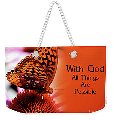 Butterfly With God Inspirational Weekender Tote Bag