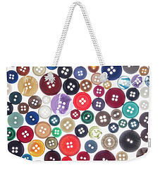 Weekender Tote Bag featuring the photograph Buttons by Jim Hughes