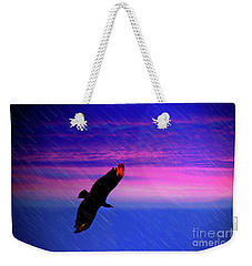 Weekender Tote Bag featuring the photograph Buzzard In The Rain by Al Bourassa