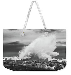 Bw Huge Wave Crashing On Tsitsikamma National Park South Africa Weekender Tote Bag