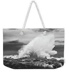 Bw Huge Wave Crashing On Tsitsikamma National Park South Africa Weekender Tote Bag