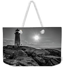 Bw Of Iconic Lighthouse At Peggys Cove  Weekender Tote Bag by Ken Morris