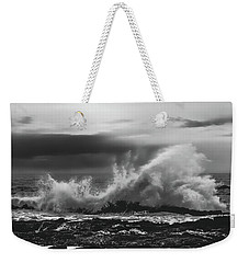 Bw Waves Crashing On Tsitsikamma South Africa With Clouds Weekender Tote Bag