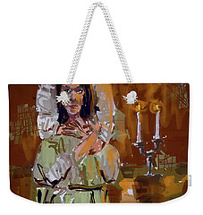 Weekender Tote Bag featuring the digital art By Candle Light by Jim Vance