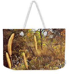Weekender Tote Bag featuring the photograph By The Railroad Tracks by Diane Miller
