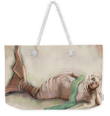 Weekender Tote Bag featuring the painting By The Sea by Carrie Joy Byrnes