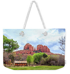 Weekender Tote Bag featuring the photograph Cabin At Cathedral Rock Panorama by James Eddy