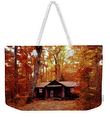 Weekender Tote Bag featuring the painting Cabin In The Woods P D P by David Dehner