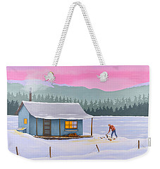 Cabin On A Frozen Lake Weekender Tote Bag