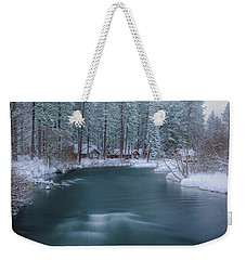Weekender Tote Bag featuring the photograph Cabins On The Metolius by Cat Connor