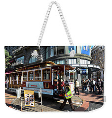 Weekender Tote Bag featuring the photograph Cable Car Union Square Stop by Steven Spak