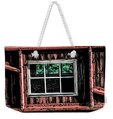 Weekender Tote Bag featuring the photograph Caboose Window by Brad Allen Fine Art