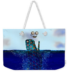 Weekender Tote Bag featuring the digital art Cachalot Dreadnought And The Airship by Iowan Stone-Flowers