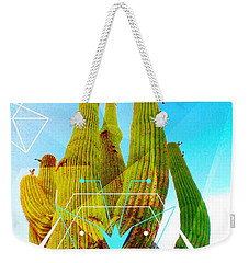 Weekender Tote Bag featuring the mixed media Cacti Embrace by Michelle Dallocchio