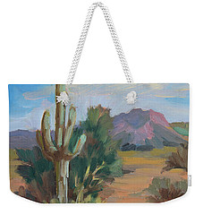 Weekender Tote Bag featuring the painting Cactus By The Red Mountains by Diane McClary