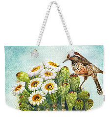 Weekender Tote Bag featuring the painting Cactus Wren And Saguaro by Marilyn Smith