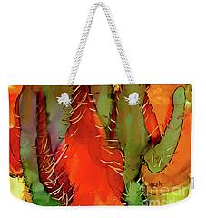 Weekender Tote Bag featuring the painting Cactus by Yolanda Koh