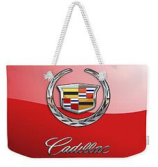 Cadillac - 3 D Badge On Red Weekender Tote Bag