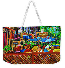 Weekender Tote Bag featuring the painting Cafe Second Cup by Carole Spandau