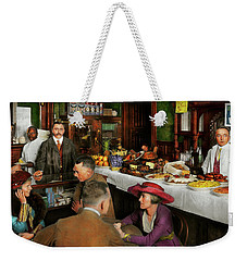 Weekender Tote Bag featuring the photograph Cafe - Temptations 1915 by Mike Savad