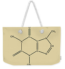 Weekender Tote Bag featuring the digital art Caffeine Molecular Structure Vintage by Nikki Marie Smith