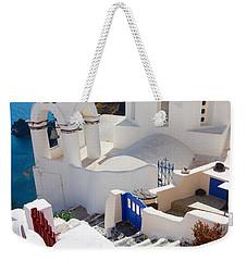 Caldera With Stairs And Church At Santorini Weekender Tote Bag