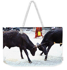 Calf Fighting Weekender Tote Bag