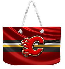 Calgary Flames - 3d Badge Over Flag Weekender Tote Bag
