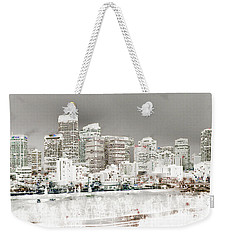 Weekender Tote Bag featuring the digital art Calgary Skyline 3 by Stuart Turnbull