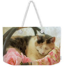 Calico Kitty In A Basket With Pink Roses Weekender Tote Bag