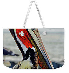 California Brown Pelican Weekender Tote Bag by Michael Cinnamond