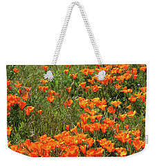 Weekender Tote Bag featuring the mixed media California Poppies- Art By Linda Woods by Linda Woods
