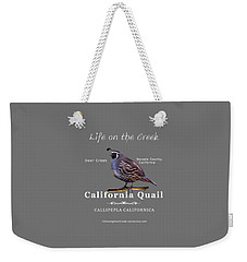 California Quail - Color Bird - White Text Weekender Tote Bag