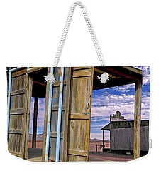 Weekender Tote Bag featuring the mixed media Call Of The Lost Saloon 3  by Lynda Lehmann
