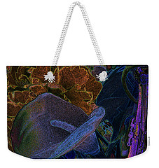Weekender Tote Bag featuring the digital art Calla Lily Abstract by Stuart Turnbull