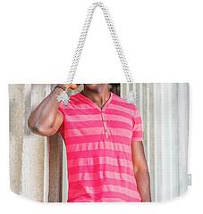Man Calling Outside Weekender Tote Bag