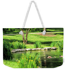 Weekender Tote Bag featuring the painting Calm Lake Ellyn by Christopher Arndt